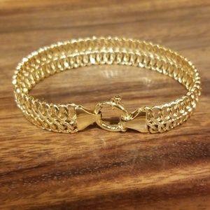14K Real Yellow Gold Italian Fancy Link Bracelet